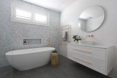 Julia & Sasha final reveal: Bathroom, living & bedrooms - The Interiors Addict Bathtub Remodel, Diy Bathroom Remodel, Bathroom Renos, Bathroom Renovations, Bathroom Furniture, Bathroom Ideas, Antique Furniture, Outdoor Furniture, Rustic Furniture
