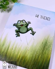 Get Your Greens Ready! Quick Cards, Diy Cards, Stamping Up Cards, Rubber Stamping, Cloud Stencil, Frog Crafts, Clear Stamps, Greeting Cards Handmade, Paper Crafts