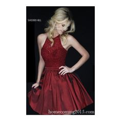 Dark Red Sherri Hill 32322 Homecoming Dress Beads 2015 ($275) ❤ liked on Polyvore featuring dresses, red beaded dress, red dress, sherri hill, beaded dress and beaded cocktail dress