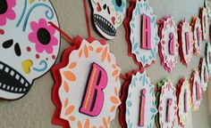 Fiesta Banner, Sugar Skull, Sugar Skull Banner, Sugar Skull Birthday, Fiesta, Day of the Dead, Sugar Skull Party