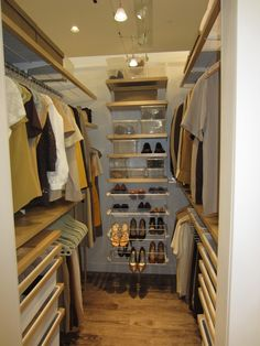 Walk In Closet Design Ideas With Wooden Clothes Shelves Stainless Clothes  Hangers Wooden Shoe Rack Beige