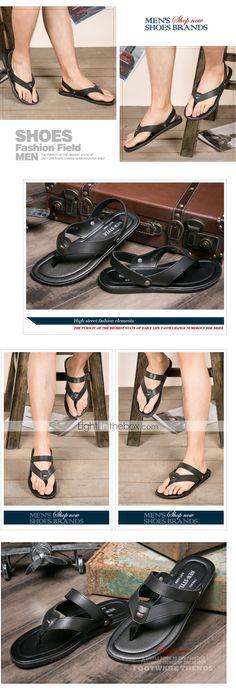 Zapatos de Hombre Exterior/Casual Semicuero Sandalias Negro/Azul/Marrón/Blanco - MXN $ 370.33