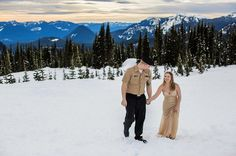 Military Couple Engagement Session | Snowy Engagement | Mt. Rainier Snowy Engagement Session | Navy Couple Photos | Megan Montalvo Photography