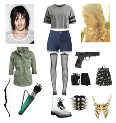 """WALKING DEAD"" by tootsieroll79 ❤ liked on Polyvore featuring Bohemian Society, VILA, Denim & Supply by Ralph Lauren, Smith & Wesson, Majesty Black and Lauren Conrad"
