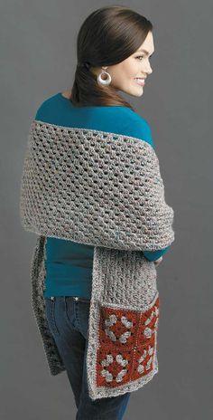 Crochet Shawls And Wraps, Crochet Poncho, Crochet Granny, Crochet Scarves, Crochet Clothes, Crochet Stitches, Crochet Baby, Free Crochet, Double Crochet