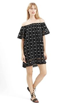 Free shipping and returns on Topshop Embroidered Off the Shoulder Dress at Nordstrom.com. Allover embroidery textures an off-the-shoulder dress further embellished with ladder-stitch detailing and scalloped lace trim at the hem.
