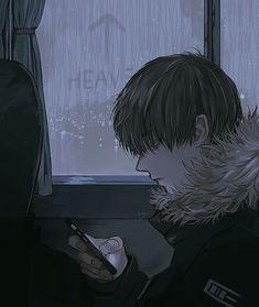Manga Art, Manga Anime, Anime Art, Aesthetic Art, Aesthetic Anime, Rain Illustration, Bus Art, Gothic Anime, A Silent Voice