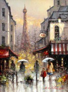 Royal Art, Umbrella Art, Autumn Scenes, Art Deco Posters, Art Society, Paris Art, Great Paintings, Impressionist Art, City Art