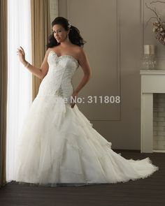 398352b21 Strapless Sweet Heart Mermaid Plus Size Bride s Wedding Dresses  2015-Welcome custom made size