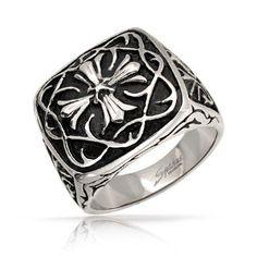 Stainless Steel Celtic Cross Gothic Biker Ring for Men