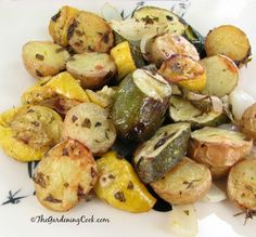 Oven roasted zucchini, new potatoes and onions.   Fresh from the garden to the table! Get the recipe at thegardeningcook.com/roasted-garden-vegetables-fresh-herbs
