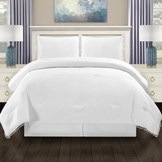Miranda Haus All Season Down Alternative Pom-Pom Fringe Comforter Set (King/California King - White) White Down Comforter, Grey Comforter, Bedding Sets, Online Bedding Stores, California King, Comforters, Twin Xl, Furniture, House