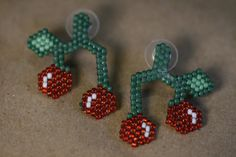 These earrings are designed using a Peyote stitch technique, using seed beads. When they are done I spray them with a clear glaze to harden