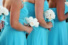 Blue Bridesmaid Dresses with White Wedding Bouquets - Beach Wedding at Tradewinds Resort in St Petersburg, FL - St. Pete Wedding Photographer Livingston Galleries