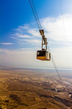 The Cable Car Lift to Masada in the Negev Desert, Israel. There is also a snake path for those who want to hike. http://exploretraveler.com/