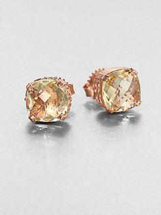 KALAN by Suzanne Kalan Lemon Quartz & 14K Rose Gold Stud Earrings