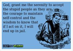God, grant me the serenity to accept the stupid people as they are, the courage to maintain self-control and the wisdom to know that if I act on it, I will end up in jail.