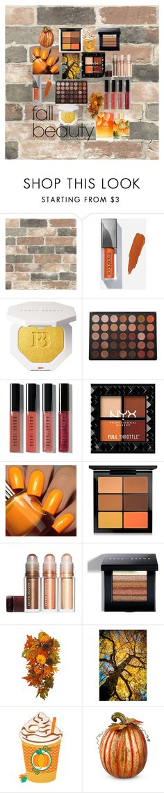 """""""fall beauty"""" by gabriellebloxom ❤ liked on Polyvore featuring beauty, Wall Pops!, Morphe, Bobbi Brown Cosmetics, Floss Gloss, MAC Cosmetics and Improvements"""