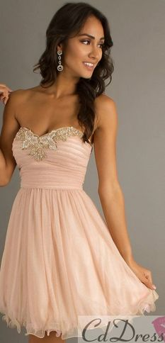 Dresses: Blush and Rhinestone Cocktail Dress.