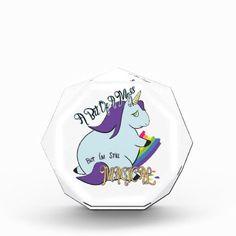 #Chubby Unicorn Eating a Rainbow - A Magical Mess Acrylic Award - #funny #unicorn #unicorns #horse #horses #magical #colourful #fantasy