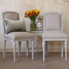 Chairs, grey finish and linen seats.