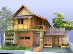 brick wooden house