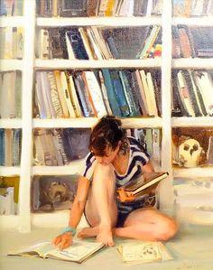 Girl Reading by Kim English Kim English, English Study, Reading Library, Reading Art, Woman Reading, Painting People, Figure Painting, I Love Books, Good Books
