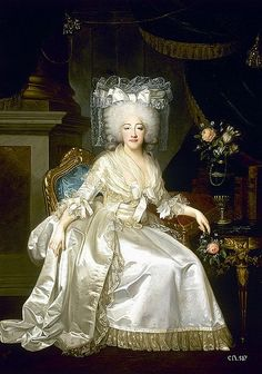 Marie Josephine Louise, Princess of Savoy, Comptesse de Provence, sister in law of Marie Antoinette. Titular Queen Consort of France and of Navarre; by Alexander Kucharsky, c. 1790. Her father was Victor Amadeus III, King of Sardinia. She was married to Louis XVIII, King of France.