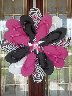 Zebra Print & Hot Pink Flip Flop Wreath by RufflesButtonsNBows
