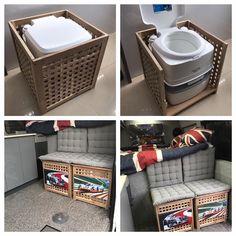 Porta potty in crate - Home Decoration Auto Camping, Minivan Camping, Camper Life, Diy Camper, Truck Camper, Kombi Trailer, Camper Trailers, Kangoo Camper, Van Dwelling
