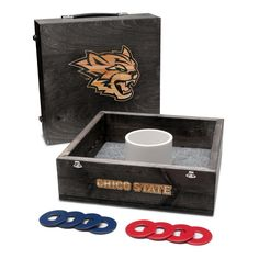Show off your Chico State Wildcats spirit with this premium quality onyx stained 1-hole washer toss game set. Built with quality, these washer boxes feature high grade 1x4 wooden frames, 1/2 inch cabi