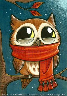 Tiny owl is PLEASED with scarf by Katie-W.deviantart.com on @deviantART