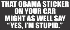 """#Obama (Yes, I'm Stupid)-Bumper Sticker:Obama sticker on your car might as well say """"Yes, I'm stupid."""" This anti-Obama bumper sticker shows your sense of humor with current politics.  http://www.decalstore.com/Obama-Yes-Im-Stupid-Bumper-Sticker-P1483.aspx"""