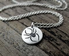Tiny spider necklace  silver halloween jewelry by lulubugjewelry, $28.00