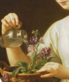 Jeune femme arrosant un pot de fleurs (Détail) 1763 - Joseph Marie Vien (1716 - 1809)