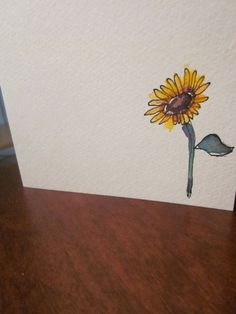 Simple Sunflower Watercolor Card This is a charmingly simple card. Watercolor and ink. Simple image in the right corner of the card. Watercolor Sunflower Tattoo, Sunflower Tattoo Simple, Sunflower Tattoo Sleeve, Sunflower Drawing, Easy Watercolor, Watercolor Cards, Watercolor Flowers, Watercolor Paintings, Watercolors