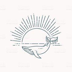 Modern flat linear vector illustration with Whale and sunrise royalty-free stock vector art