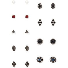 Forever 21 Faux Stone Geo Stud Set ($6.90) ❤ liked on Polyvore featuring jewelry, earrings, fake stud earrings, imitation jewelry, forever 21 jewelry, stone earrings and artificial jewelry