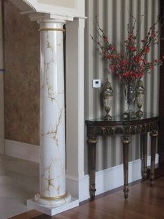 faux painted marble column ct 7