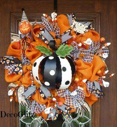 Whimsical Orange Burlap Halloween Wreath with BLACK by decoglitz