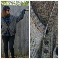 1d799a5438 Vintage 1980s Grey Purple Modango Italian Wool Wool Blend Sweater  Multicolored Button Up Cardigan Made in Italy Oversized Comfortable
