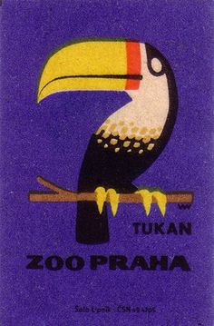 prague zoo. 1963. czechoslovakia. matchbox label. print