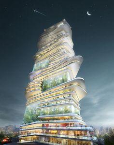 SUREアーキテクチャのは、ロンドンの街のための「エンドレス都市」高層ビルの提案を受賞。 SURE建築画像提供