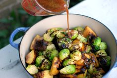 Brussel sprouts and peaches are grilled on high and tossed together with some…