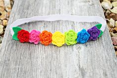 Rainbow Rosette Felt Flower Crown- Newborn/Baby/Girl Headband - Felt Flower Garland - Photo Prop
