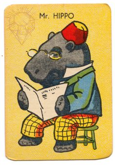 Mr hippo wearing a fez and reading  a book. Vintage