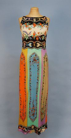 PUCCI PRINTED SILK JERSEY GOWN. c. 1970