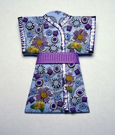 Blue Kimono Polymer Clay Pin Handmade Brooch by SweetchildJewelry, $15.00