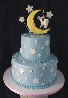 Cow Jumped Over the Moon Baby Shower Cake Cow Baby Showers, Baby Shower Cakes For Boys, Tea Party Baby Shower, Star Baby Showers, Baby Boy Shower, Baby Boy Cake Topper, Baby Boy Cakes, Baby Boy Birthday Cake, 2nd Birthday