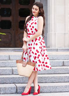 vintage-cherry-dress-with-woven-bag